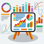 Stand with charts graphs and parameters. Business concept of analytics